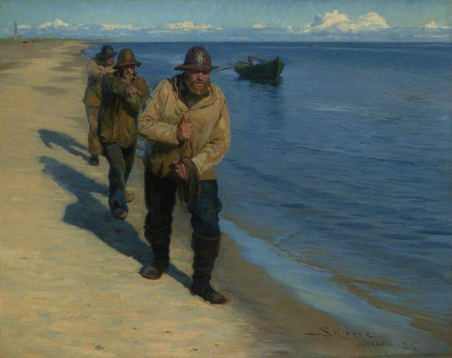 Peder Severin Krøyer, Tre Fiskere trækker en Baad, 1885
