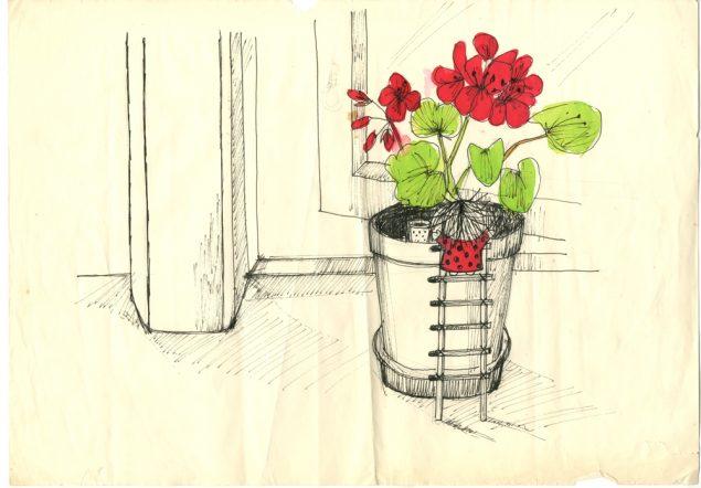 En af Hanne Hastrups illustrationer til den første Cirkelinebog, der udkom i 1969. Her er den lille alf kravlet op i en potteplante. Hendes lille stige har trin af tændstikker, og hendes seng er en lille tændstiksæske på tegnerens bord. Pressefoto.