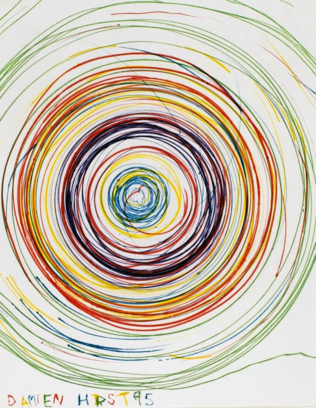 Damien Hirst, beautiful exotic stretching etchy spinning void etching, 1995, koldnålsradering, 44 x 37 cm, BORCH Editions. Pressefoto