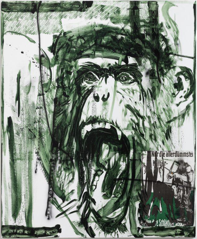Claus Carstensen: Gott mit uns!, 2017, akryl, spray og collage på lærred, 220 x 180 cm. Foto: Anders Sune Berg