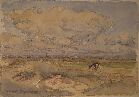 Viggo Johansen, Udsigt over klitter og marker mod Skagens fyrtårn og huse i Østerby, 1909