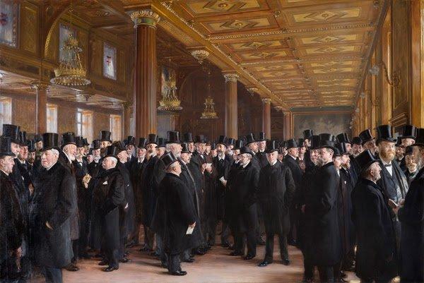 P.S. Krøyer: Fra Københavns Børs. 1895. Olie på lærred, 259 x 414 cm. Dansk Erhverv. Foto: Frida Gregersen.