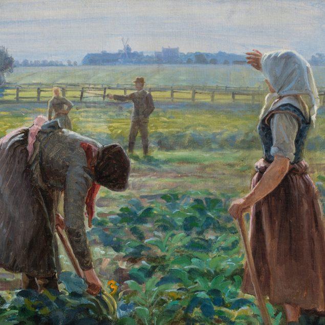 """Johannes Wilhjelm, """"Polske roearbejdere i marken ved Øllingsøe på Lolland"""", ca.1910. Fuglsang Kunstmuseum (detalje)"""