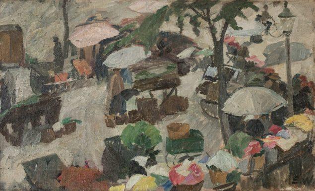 Edvard Weie (1879-1943) Blomstertorvet, Højbro plads, København, ca. 1911.