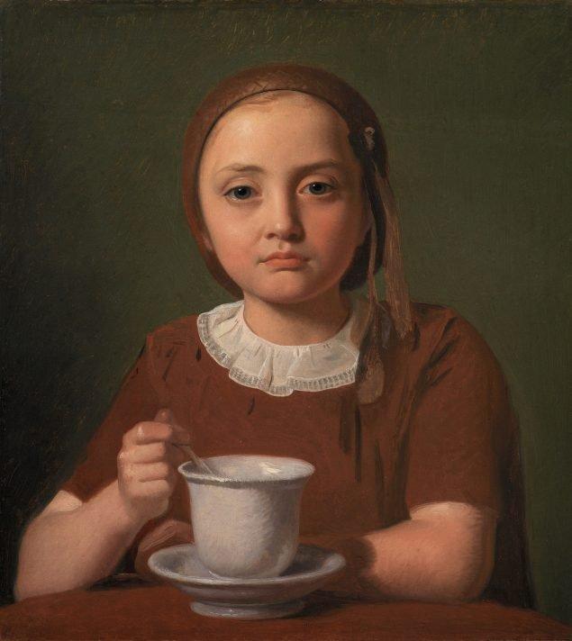 Constantin Hansen: En lille pige, Elise Købke, med en kop foran sig, 1850. Statens Museum for Kunst.