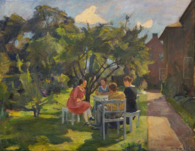Troels Trier: Fra Håndværkerskolens Have, Vallekilde Højskole, 1950, Foto: Museum Vestsjælland.