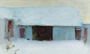 Oluf Høst: Bondegård, dækket af tøsne, 1942. Olie på lærred, 89 x 146 cm. Ribe Kunstmuseum. Foto: Ribe Kunstmuseum